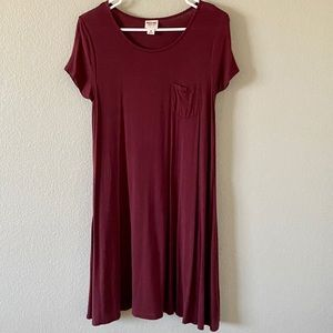 Massimo swing t-shirt dress in cranberry